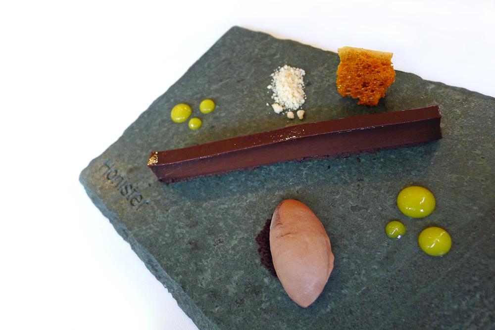 "Plate of chocolate,Hazelnut sherbet , Orange and salted ""yellow ..."